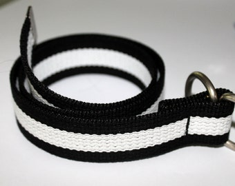 "Striped Webbing Belt Black and White Men Ladies Belt 1.25"" Wide Black and White Belt Black Striped D Ring Belt Military Slide Belt"