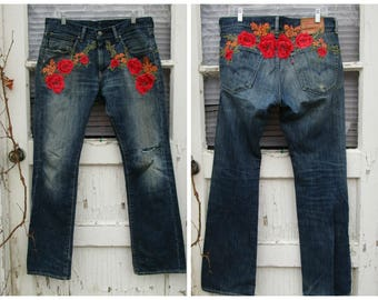 Upcycled Floral Applique Distressed Levi Red Tag 527 Blue Jeans// 32 X 32 Large// emmevielle