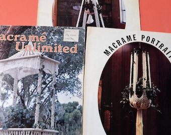 Three macrame instruction booklets - Macrame Portraits Glass Slipper, Macrame Portraits Class of 78 and Macrame Unlimited