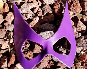 READY TO SHIP - Purple Leather Mask - Pointed Top Leather Cosplay Mask - Superhero Costume Cosplay Mask