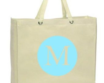 Initial Canvas Tote Bag, Large Circle - Monogram on Reusable, Eco-friendly Shopper Bag - Many Colors