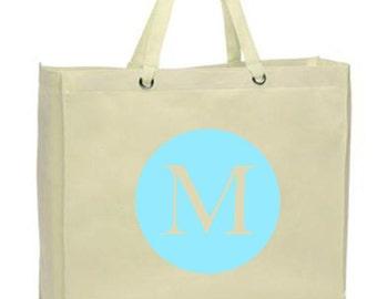 Initial Canvas Tote Bag, Large Circle - Monogram on Reusable, Eco-friendly Shopper Bag - Many Colors