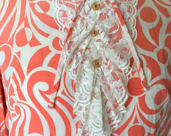 Very Groovy 1960's Dress Bright Orange & Creme Patterned Cotton Vintage