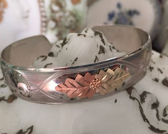Black Hills Gold Sterling Silver Cuff Bracelet Sterling and 10k Yellow and Rose Gold