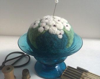 Pincushion, needle felted wool pincushion