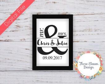 Mr & Mrs Printable Wedding Anniversary Wall Art