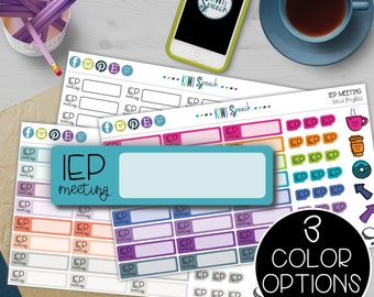 IEP Meeting Planner Stickers for SLPs & Special Education