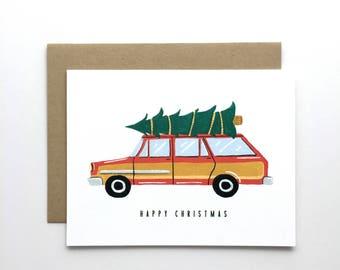 Station Wagon Happy Christmas - Holiday Card, Christmas Card