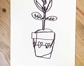 Pretty Little Pot | A5 Original Drawing | Super Cute Heart Warming Illustration Gift Flowers