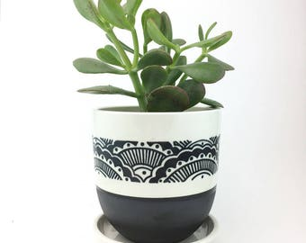 MADE TO ORDER Wheel Thrown Porcelain Planter Worh Hand Painted Black and White Pattern