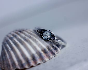 Silver ring, ring with topaz