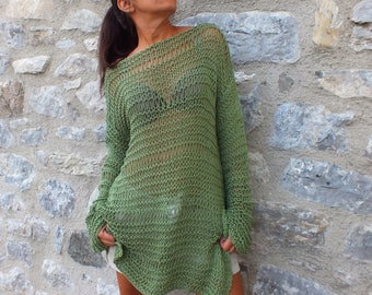 Loose knit sweater, off the shoulder sweater,Summer sweater, Summer knit sweater