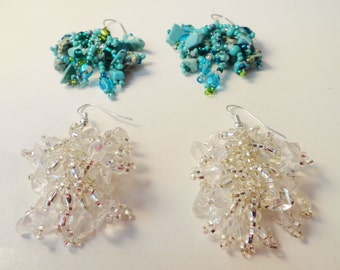 Beaded Earrings with Turquoise or Cyrstal Czech glass beads -  ER0002