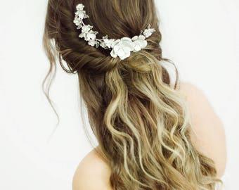 Braut Hochzeit Haarkamm, Silber Braut Kopfschmuck, Blumen Hochzeit Kopfschmuck, Crystal Floral Haare kämmen, Crystal Headpiece - Stil 708
