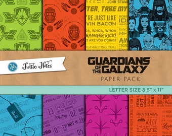 Guardians of the Galaxy Letter Sized Paper Pack : 48 Printable Digital Scrapbook Paper