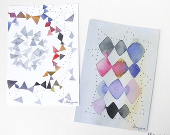 Abstract geometric watercolor postcard, Graphic watercolor card, Illustrated card, Triangle card, Geometric card, Abstract art stationery