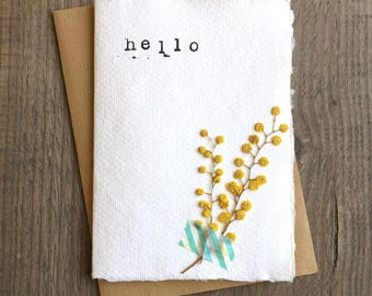 """pressed flower notecard on recycled paper - """"hello"""""""