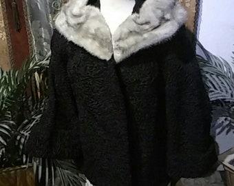 Vintage 1940's Black Persian Lamb Silver Mink Collar - Medium