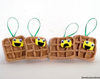 Waffle Ornament - Personalized Christmas Ornament - Funny Plush Food Ornament - Holiday Ornament - Kid-Friendly Ornament - Funny Gift