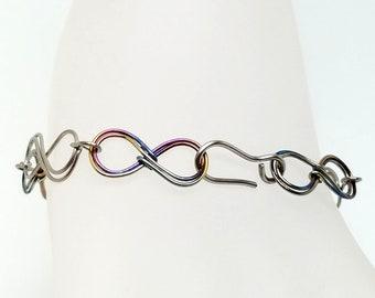 "Infinity Link Bracelet Titanium and Anodized Niobium Hand Formed 7"""