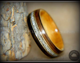 "Bentwood Ring - ""Tracks"" Ebony and Olive Wood Ring Gold Wire and Glass Inlay"