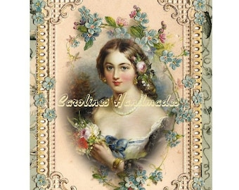 "Victorian Lady 18 Collage Cotton Fabric Quilt Block (1) @ 5X7"" on 8.5X11"" Sheet"