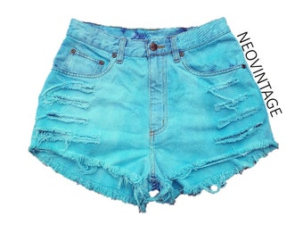 Teal Turquoise Blue Green Dyed High Waisted Denim Frayed Festival Shorts