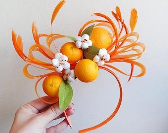 fruit headband, fruit headdress, fruit headpiece, headband with oranges, oranges headband, floral headband, orange, frida kahlo headband