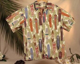 Go Barefoot Hawaiian Shirt with Surfboard Fern Theme 100% Cotton Made in USA
