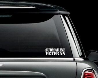 Submarine Veteran Car Truck Van Window or Bumper Sticker Vinyl Decal