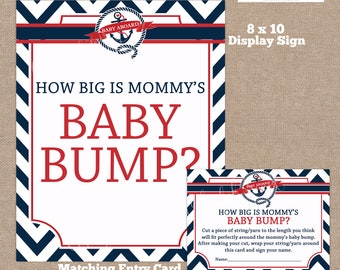 INSTANT DOWNLOAD, Nautical How Big is Mommy's Belly Game, Belly Guessing Game, How Big is Mommy's Belly, Nautical, Red, #0009