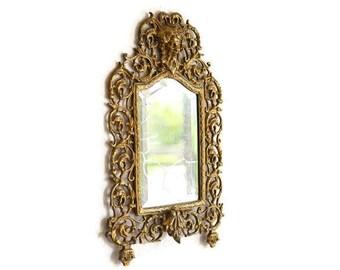 Victorian Cast Iron Mirror, Victorian Beveled Wall Mirror, Dionysius god of Wine Mirror, Victorian Wall Mirror, Reticulated Victorian Mirror