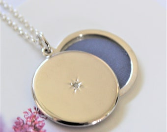 Silver locket with diamond. Sliding locket.  Sterling silver locket.