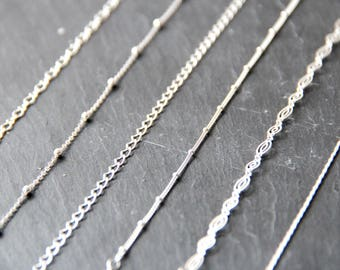 Chains necklaces in solid 925 sterling silver, gift idea, fine jewelry, elegant, delicate, minimalist