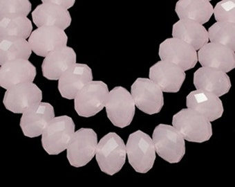 12 pink Czech glass crystal beads, 8x6mm, faceted abacus rondelle (opaque pale pink) FA8