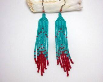 Modern Native American Beaded Earrings, Turquoise Sun