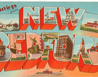 Linen Postcard, Greetings from New Bedford, Connecticut, Lighthouse, Large Letter
