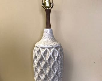 Vintage Mid Century Modern Honeycomb Lamp with Wooden Accent