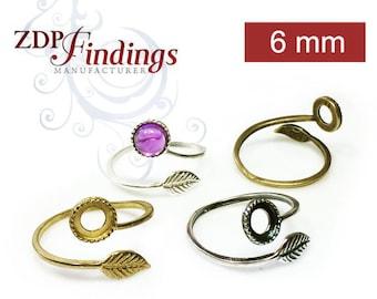 4pcs x Quality Cast 6mm Bezel Settings, Adjustable Ring. Choose your Finish (9731V)