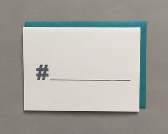 Hashtag / Fill In the Blank / Funny Greeting Card / Friendship / Pop Culture / Humor / Blank Greeting Card / Card Box