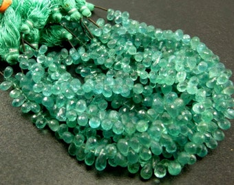 1/2 Strand - Caribbean Waters Natural Apatite Faceted Drop Briolettes Size 7x4 to 8x5mm approx.