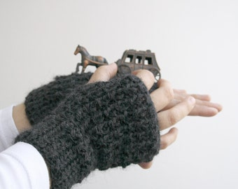 Unisex Charcoal Hand Knitted Fingerless Gloves  For Men for women / Christmas  gift / Under Usd 25 / Outdoors  Gift