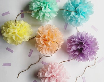 PASTELS mini pompom garland girl baby bridal shower photo prop first birthday party decorations pastel pink mint peach unicorn rainbow theme