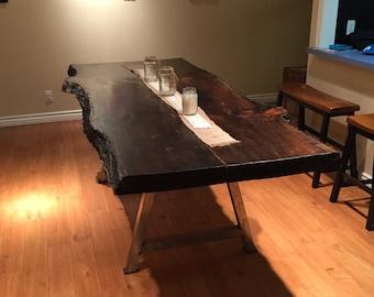 Handmade Pine Wood Dining Table 8' Custom Live Edge