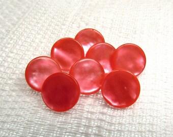"""Pink Azalea: 7/16"""" (11mm) Bold Pink Buttons - Set of 8 Matching Buttons"""