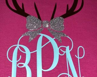 Deer Rack Monogram with Bow