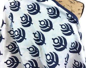 African Fabric--Java Print Fabric--Ankara Print Fabric--Tuareg Design Print--Indigo Blue Flowering Plant--African Fabric by the HALF YARD