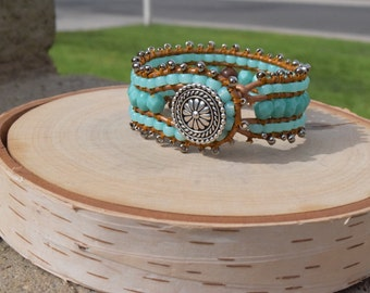 Handmade turquoise  leather wrap cuff bracelet