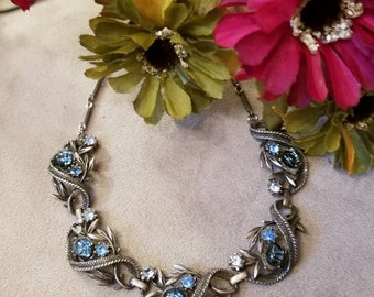 CORO Designed Cjoker Necklace, Montana Blue Starburst, Rhinestones, Vine Pattern, Blue Rhinestone, Bronze Color Designer Necklace, Coro