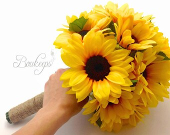 Sunflower Bouquet, Sunflower Bridesmaid / Bridal Bouquet with Twine, Sunflower Bridal Bouquet, Sunflower Bridesmaid Bouquet